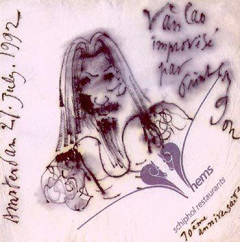 Ký họa cố nhạc sĩ Văn Cao qua nét vẽ Trịnh Công Sơn. Ảnh tặng kèm CD.