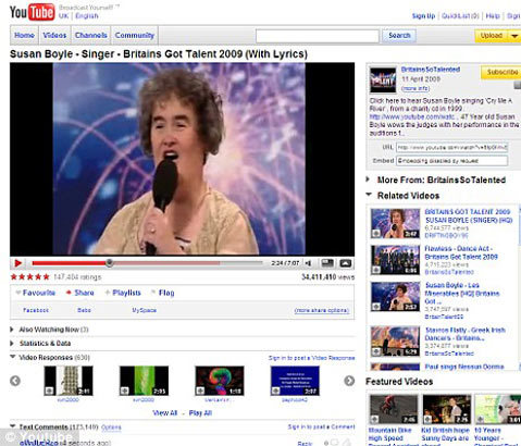 Clip của Susan đã giành được 100 triệu hits trên Youtube. Ảnh: YT.