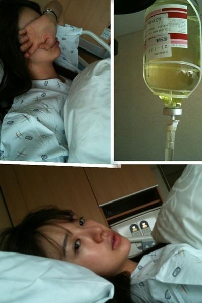Yoon Eun Hye trong bệnh viện hôm 25/12. Ảnh: YEH Twitter.