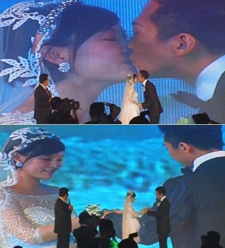 Tôn Lệ đã rưng rưng nước mắt trong lúc trao nhẫn, sau đó cô dâu chú rể trao nhau nụ hôn hạnh phúc.