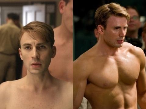 Chris Evans với hai tạo hình trong 'Captain America: The First Avenger'. Ảnh: Paramount.