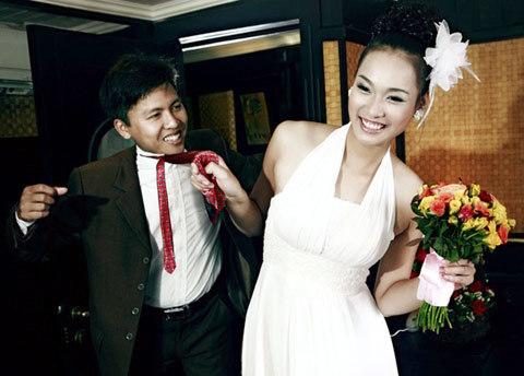Ảnh cưới của Vương Thu Phương cùng bạn trai cũ. Ảnh: S.T.