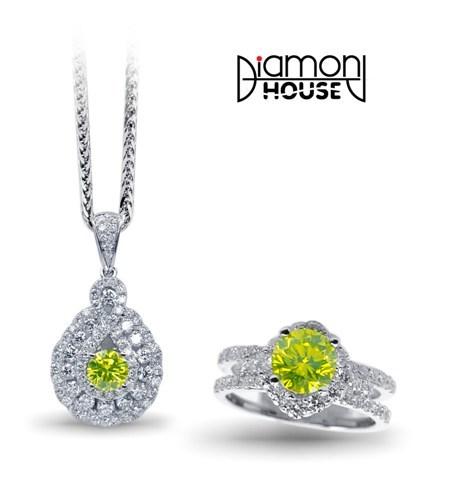 """""""Vườn địa đàng"""" – vàng trắng kết hợp kim cương xanh táo, kim cương trắng."""