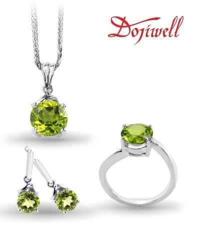 """""""Cỏ mưa"""" – vàng trắng gắn peridot và kim cương."""