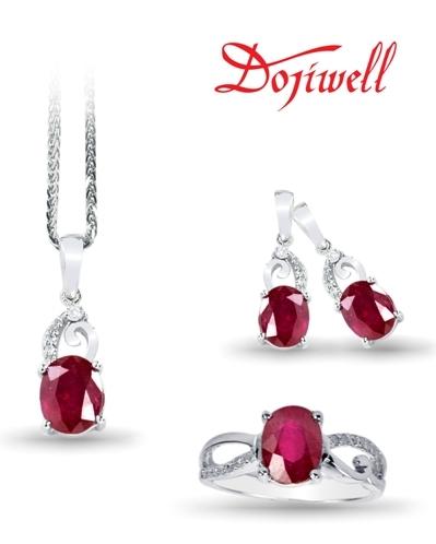 """""""Tình yêu nồng nàn"""" – vàng trắng gắn ruby và kim cương."""