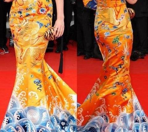 Chiếc váy của Phạm Băng Băng được thiết kế đặc biệt ở phần đuôi váy. Ảnh: