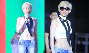 Tóc Tiên diện crop-top sexy khi tập hát