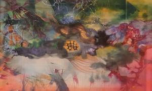 Triển lãm tác phẩm lụa kết hợp giấy giang