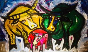 Tô Chiêm vẽ tranh trâu